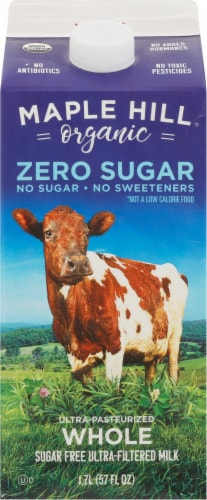 Maple Hill Organic Zero Sugar Ultra-Pasteurized Whole Milk Perspective: front