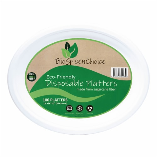 """12 5/8"""" x 10"""" Eco-Friendly Disposable Platter (100 Count) Perspective: front"""