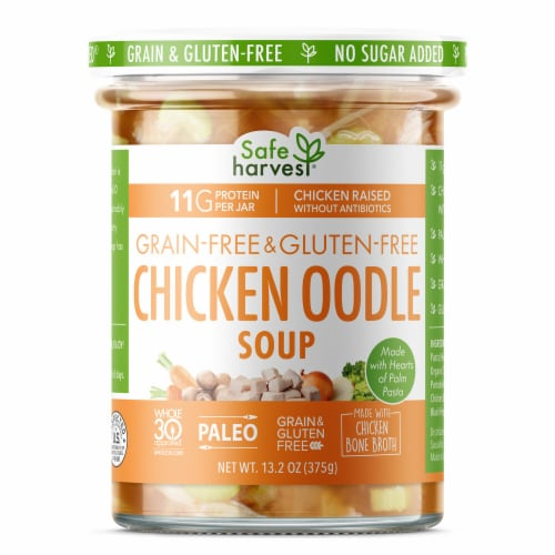 "Safe Harvest Grain & Gluten Free Chicken ""Noodle"" Soup Perspective: front"