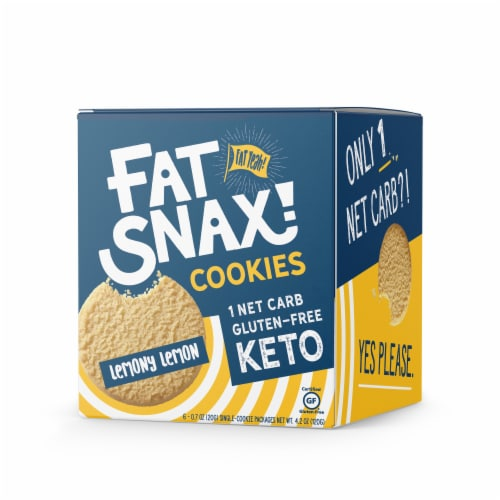 Fat Snax Lemony Lemon Keto & Gluten Free Snack Cookies Perspective: front