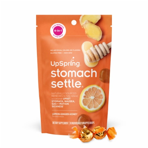 Stomach Settle Lemon Ginger Honey Flavor Upset Stomach Drops Perspective: front