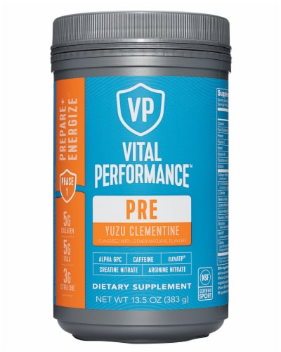 Vital Proteins Yuzu Clementine Performance Pre Workout Powder Perspective: front