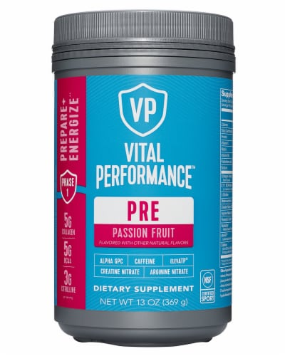 Vital Proteins Passion Fruit Performance Pre Workout Powder Perspective: front