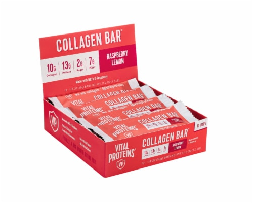 Vital Proteins Raspberry Lemon Gluten Free Collagen Bars Perspective: front