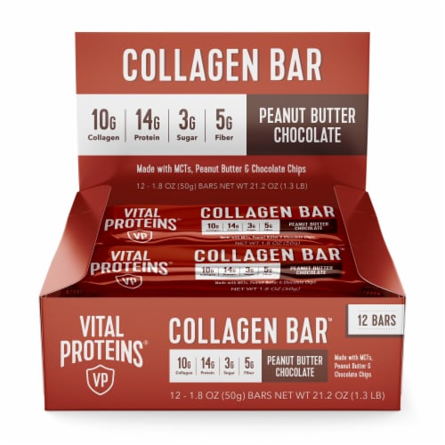 Vital Proteins Peanut Butter Chocolate Collagen Bars Perspective: front