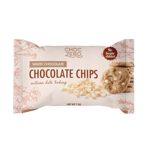 ChocZero No Sugar Added White Chocolate Baking Chips Perspective: front
