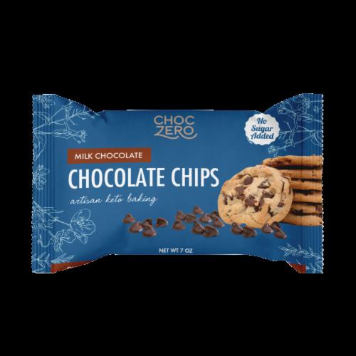 ChocZero No sugar Added Milk Chocolate Baking Chips Perspective: front