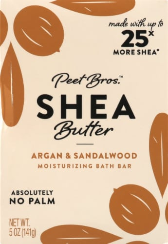 Peet Bros. Argan And Sandalwood Shea Butter Bar Soap Perspective: front