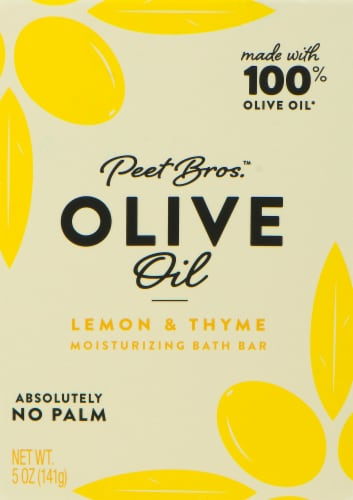 Peet Bros. Lemon and Thyme Olive Oil Bath Bar Perspective: front
