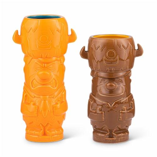 Geeki Tikis The Flintstones Mug Set | Fred & Barney Tiki Mugs | Holds 28 Ounces Perspective: front