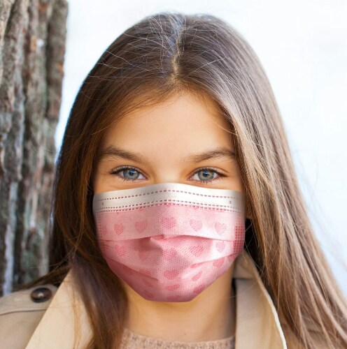 50 Pack EZ Breezy Kids Disposable Face Masks - Perfect Size for Children (Pink, 4-12 Years) Perspective: front