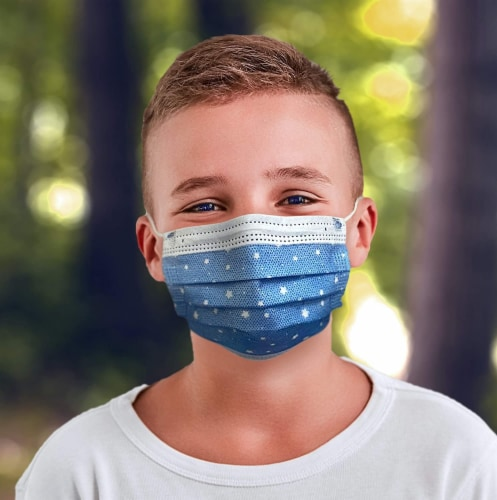 50 Pack EZ Breezy Kids Disposable Face Masks - Perfect Size for Children (Blue, 4-12 Years) Perspective: front