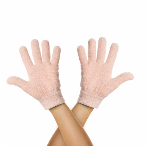 ZenToes Moisturizing Gloves - Dry, Cracked Skin Healing Treatment - 1 Pair (Fuzzy Peach) Perspective: front