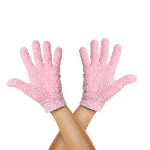 ZenToes Moisturizing Gloves - Dry, Cracked Skin Healing Treatment - 1 Pair (Fuzzy Pink) Perspective: front