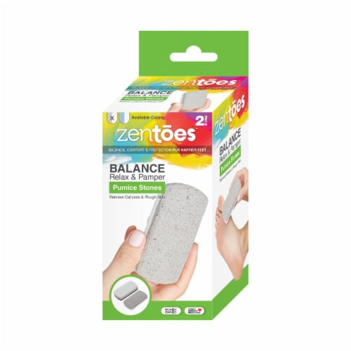 ZenToes Pedicure Pumice Stones Double Sided Fine/Coarse Callus Remover Blocks 2 Count (Gray) Perspective: front