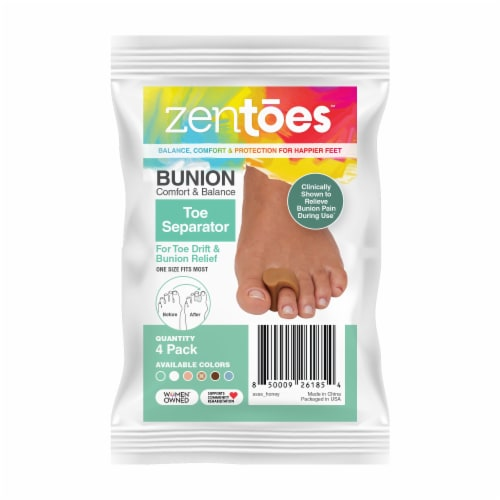 ZenToes Gel Toe Separators - Overlapping Toes, Bunion Corrector and Spacer - 4 Pack (Honey) Perspective: front