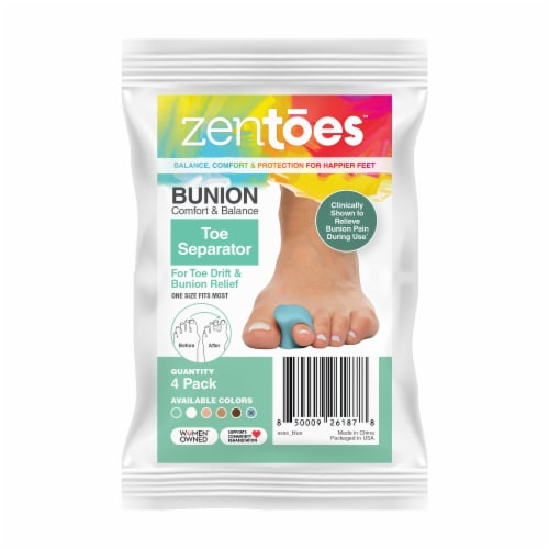 ZenToes Gel Toe Separators - Overlapping Toes, Bunion Corrector and Spacer - 4 Pack (Blue) Perspective: front