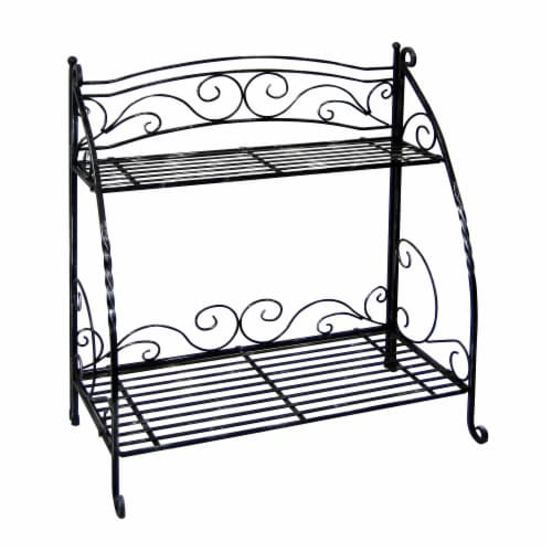 Folding Plant Stand 2 Shelf Perspective: front
