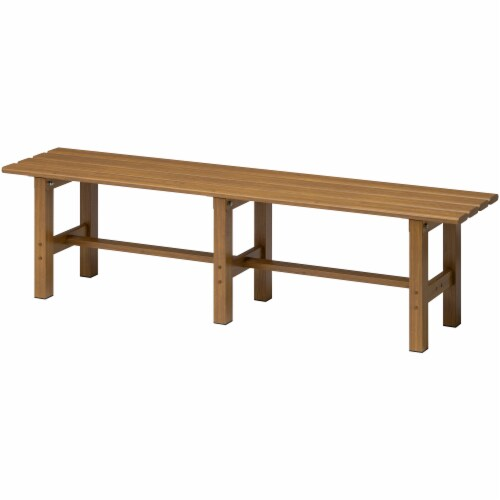 Aluminium Outdoor Bench Heat Transfer Natural Wood Perspective: front