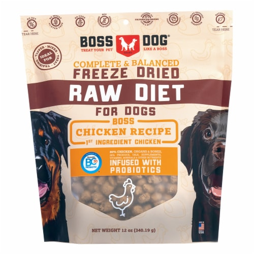 Boss Dog Brand BD02405 12 oz Freeze Dried Raw Diet Chicken for Dog Perspective: front
