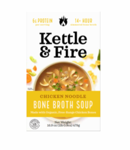 Kettle & Fire Chicken Noodle Bone Broth Soup Perspective: front