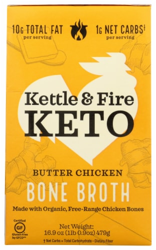Kettle & Fire Keto Butter Chicken Bone Broth Perspective: front