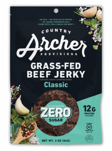 Country Archer Zero Sugar Classic Beef Jerky Perspective: front