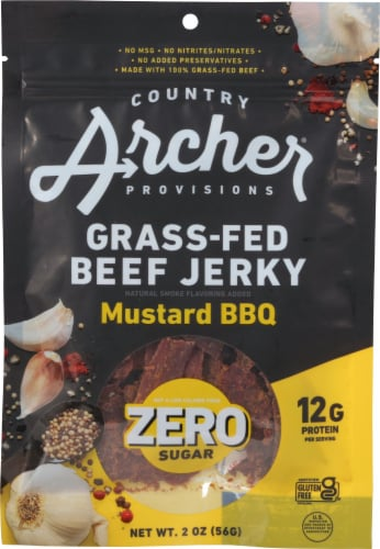 Country Archer Zero Sugar Mustard BBQ Beef Jerky Perspective: front