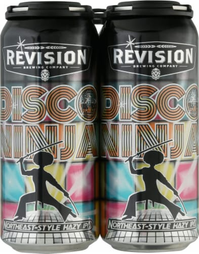 Revision Brewing Company Disco Ninja Northeast-Style Hazy IPA Perspective: front