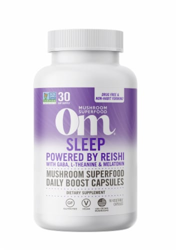 Om® Sleep Mushroom Superfood Daily Boost Vegetable Capsules Perspective: front