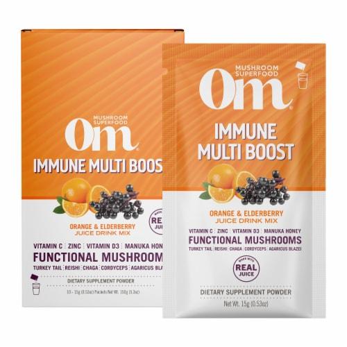 Om® Immune Multi Boost Orange & Elderberry Juice Drink Mix Perspective: front