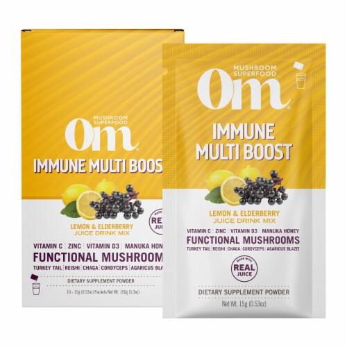 Om® Immune Multi Boost Lemon & Elderberry Juice Drink Mix Perspective: front