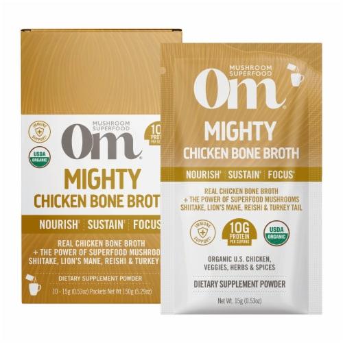 Om® Mighty Organic Chicken Bone Broth Powder Perspective: front