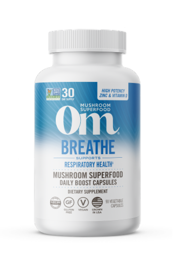 Om Mushroom Breathe Superfood Capsules Perspective: front