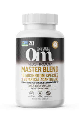 Om Mushroom Master Blend Daily Boost Capsules Perspective: front