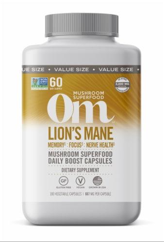 Om Mushroom Lion's Mane Superfood Capsules Perspective: front