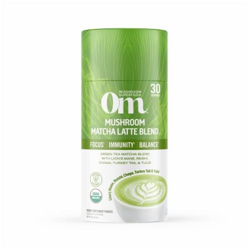 Om® Mushroom Organic Matcha Latte Blend Powder Perspective: front