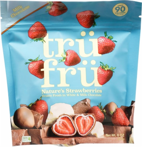 Tru Fru Nature's Strawberries in White & Milk Chocolate Perspective: front