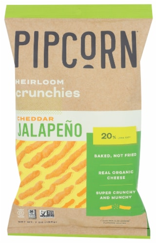 Pipcorn Cheddar Jalapeno Heirloom Crunchies Snack Perspective: front