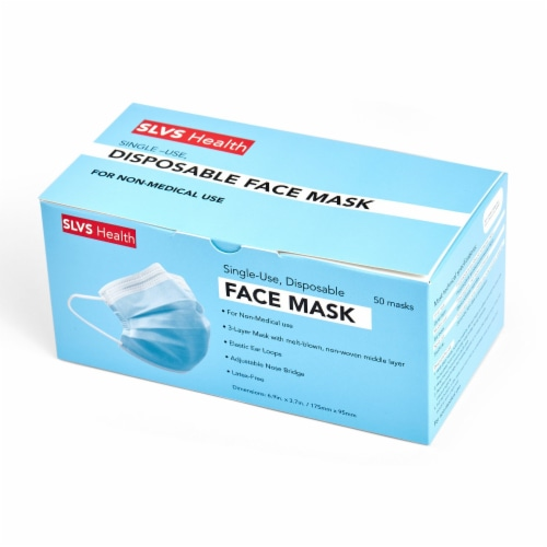 Disposable Face Mask Set 50pcs General Purpose Non-Medical 3-ply Perspective: front