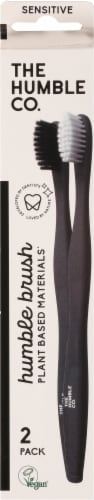 Humble Co Plant-Based Sensitive Toothbrush White/Black Perspective: front