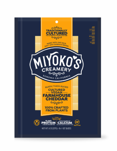 Miyoko's Farmhouse Cheddar Cheese Slices Perspective: front