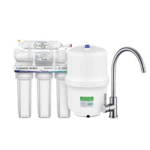 5 Stage Under Sink Reverse Osmosis Water Filtration System 80 GPD High Capacity Perspective: front