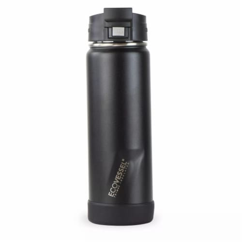 EcoVessel TriMax® Insulated Stainless Steel Push Button Bottle w/Lock - Black Shadow Perspective: front