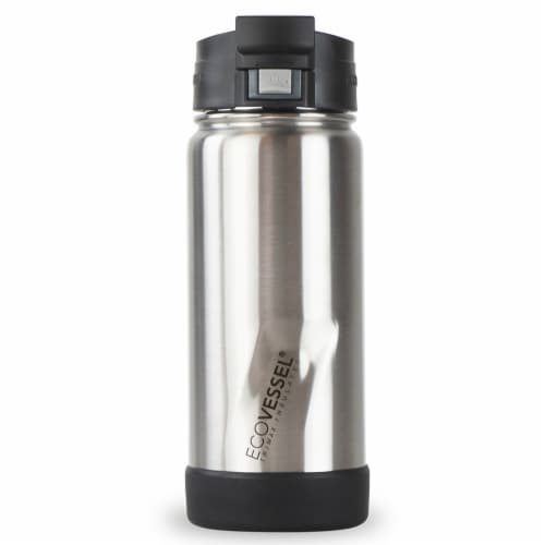 EcoVessel TriMax® Insulated Push Button Bottle w/Lock - Silver Express Perspective: front