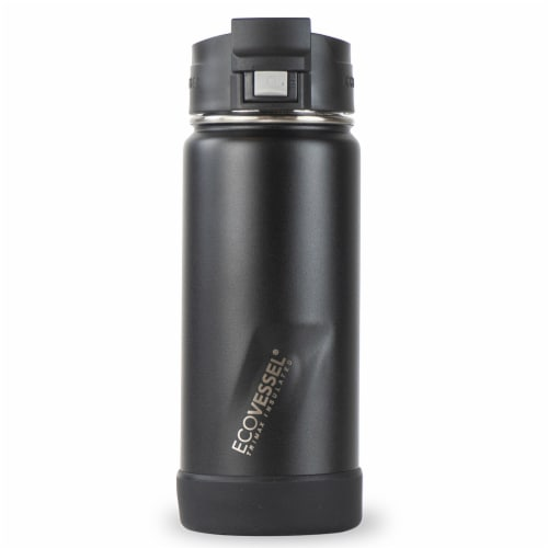 EcoVessel Perk TriMax Insulated Stainless Steel Water Bottle - Black Perspective: front
