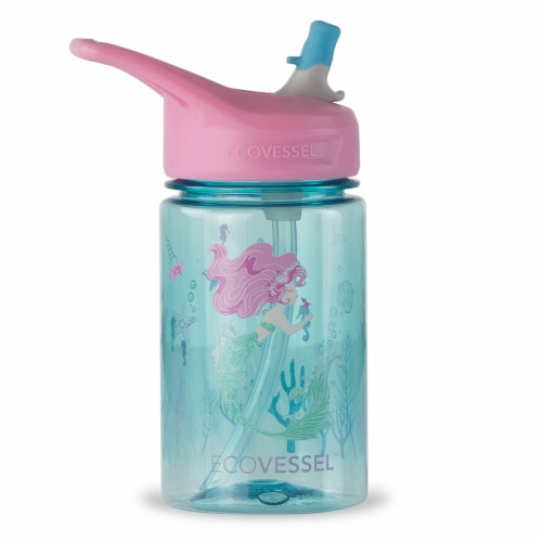 EcoVessel Mermaid Water Bottle with Flip Straw Lid Perspective: front