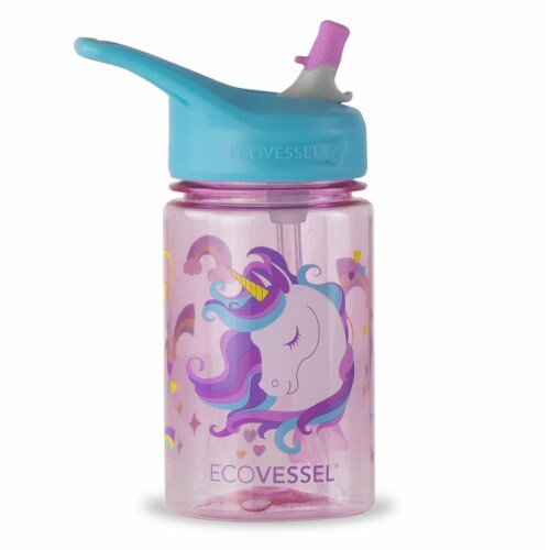 EcoVessel Unicorn Water Bottle with Flip Straw Lid Perspective: front