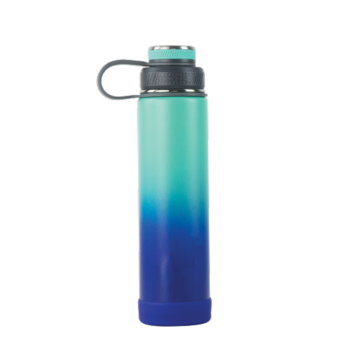 EcoVessel TriMax® Insulated Stainless Steel Water Bottle - Galactic Ocean Ombre Perspective: front