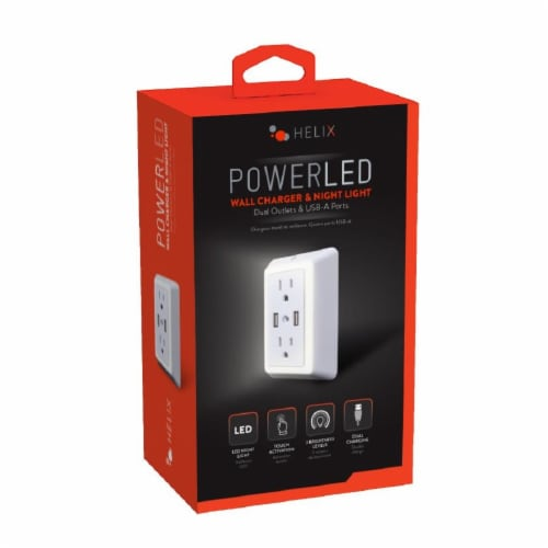 Helix Power LED Dual Outlets & USB Ports Wall Charger & Night Light Perspective: front